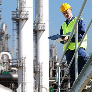 Oil and Gas Engineer Monitoring Pipelines