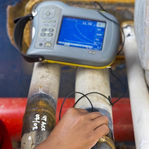 Oil and Gas UT Measurement Taken of Weld