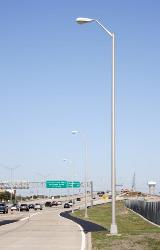 Round Street Lighting Poles with Upswept Lighting Arms