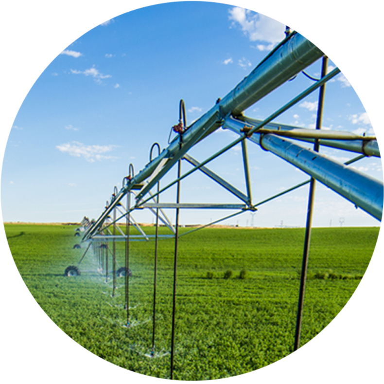 Center pivot irrigation system in a field