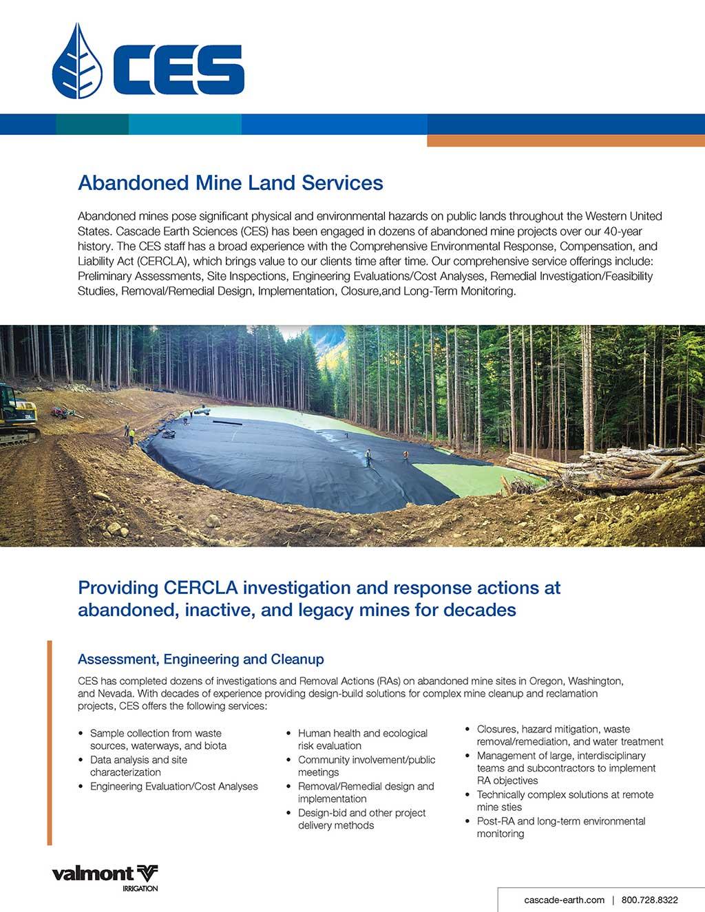 abandoned mine landsproduct sheet