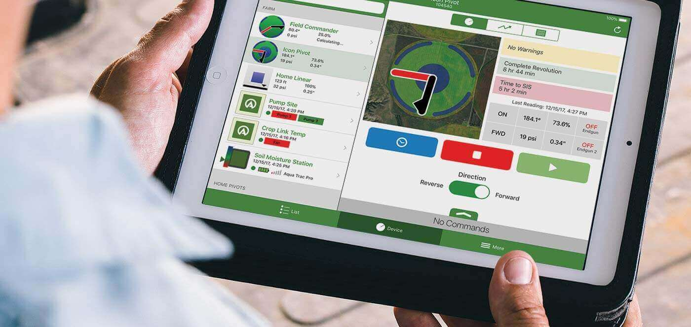 agsense icon link remote management for center pivot irrigation