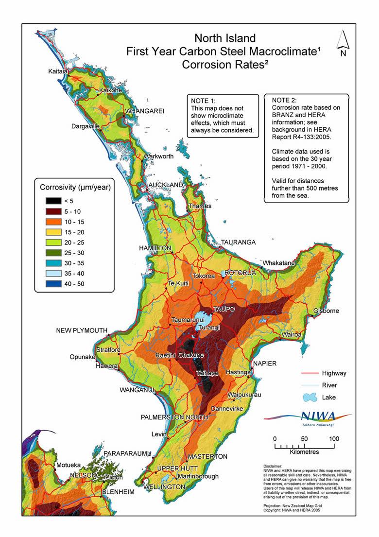 North Island Corrosion Map