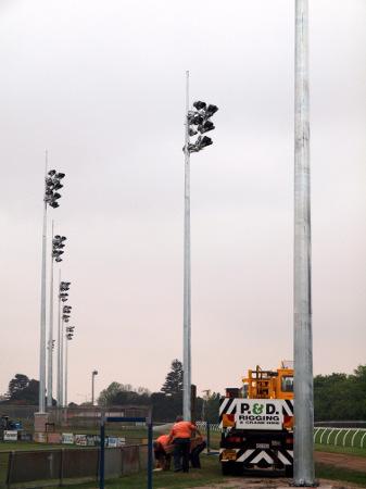Floodlighting cranbourne race track sports lighting floodlighting poles aloadofball Gallery
