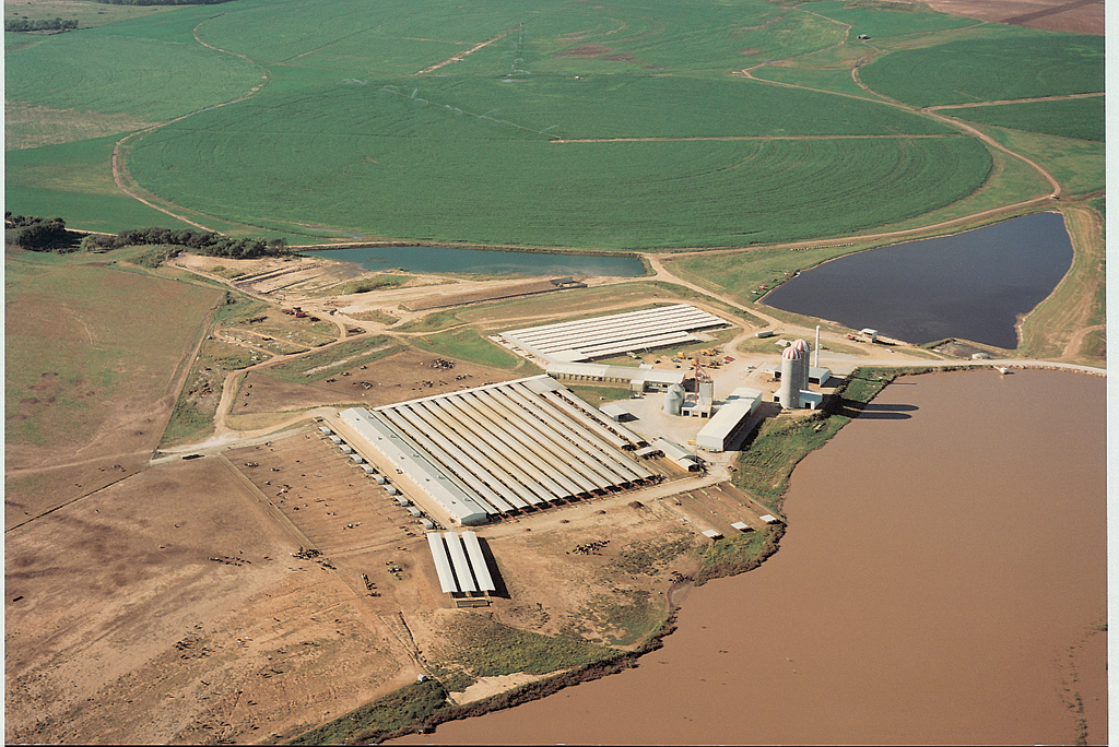 Wastewater applied through a center pivot