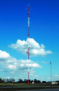 Tower reaching through clouds