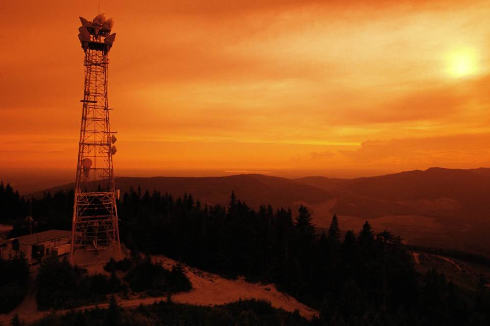 Wireless tower pictured at dusk