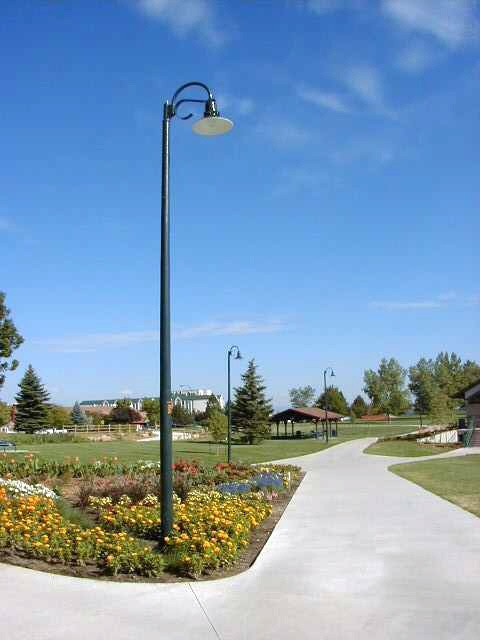 Whatley TS45 decorative composite light poles for parks and recreation applications