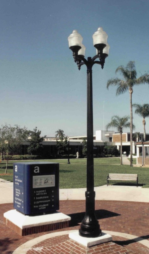 Whatley CF50 composite light poles for campus outdoor lighting applications