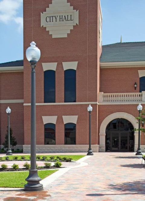 Whatley CF10 composite fluted light poles for campus outdoor lighting applications