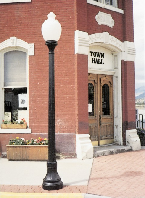 Whatley CF50 fluted composite light pole streetscape